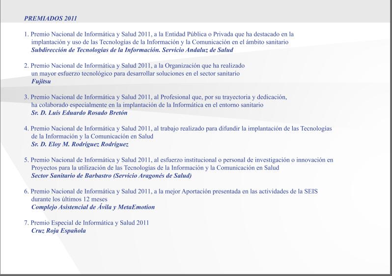 Lista de Premios Informática y Salud 2011