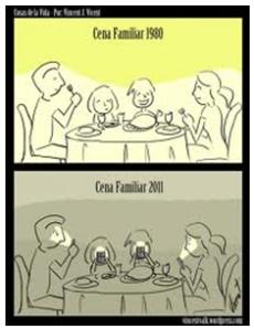 Chiste sobre la evolución de las cenas familiares en la última década