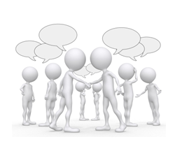 Dibujo de gente conversando